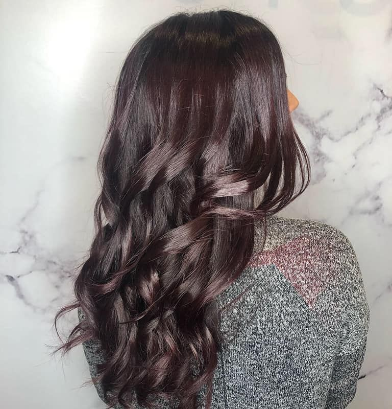 Black color medium length hair after styling