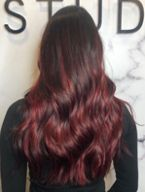 curly long length hair with hair color